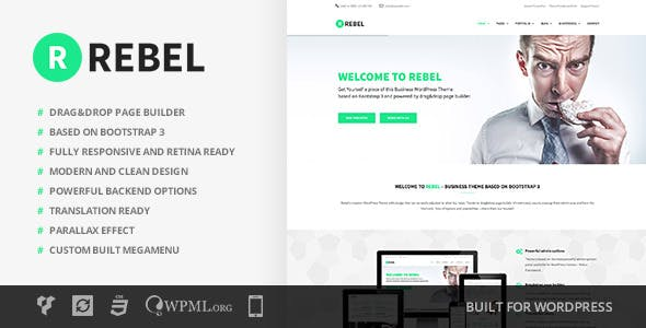Rebel website templates from themeforest rebel wordpress business bootstrap theme friedricerecipe Choice Image