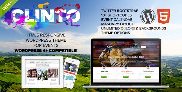 Clinto - HTML5 Responsive WordPress Theme for Events by dynamick74 d62be9c0aa1