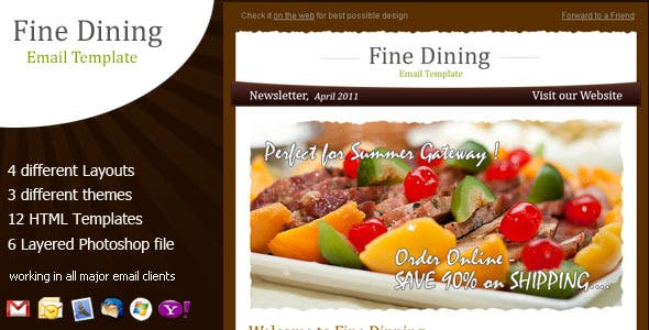 restaurant theme email template from themeforest
