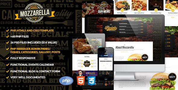 Mozzarella PHP & HTML Cafe Bar Template nulled theme download