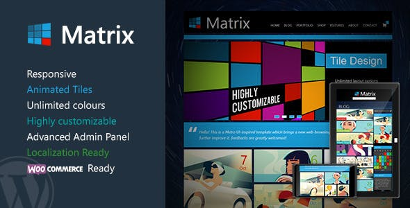 Matrix jQuery WordPress Theme from ThemeForest