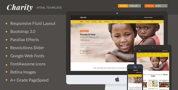 donation website template templates from themeforest