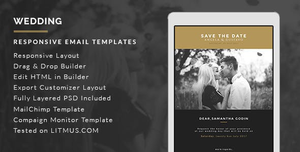 Invitation email website templates from themeforest wedding invitation card email template builder access stopboris Image collections