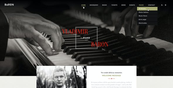Violin website templates from themeforest baron music psd template baron music psd template maxwellsz