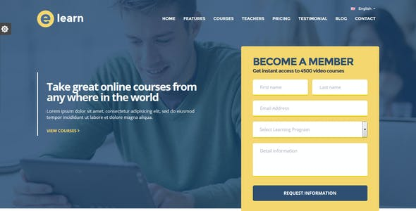 E Learn Onepage Bootstrap Education Html