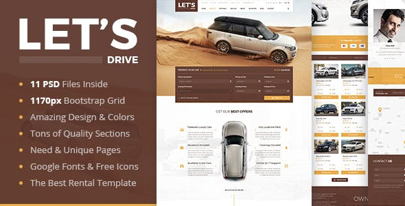 Car sales website templates from themeforest lets drive amazing car rental sale psd template maxwellsz