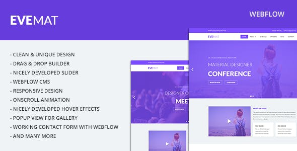 Evemat | Event Webflow Template nulled theme download