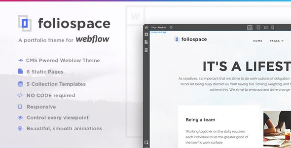 Foliospace - Responsive Webflow Portfolio Template nulled theme download
