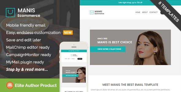 manis ecommerce email template builder access