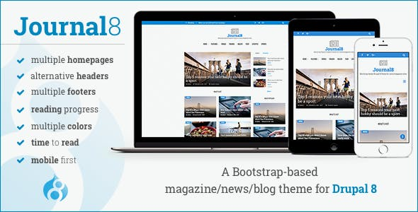 Journal8 - Mobile-First Drupal 8 Theme by morethanthemes | ThemeForest