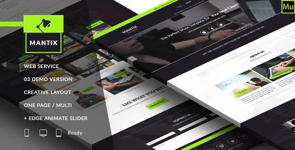 Edge animate templates from themeforest mantix multipurpose creative services muse template pronofoot35fo Image collections