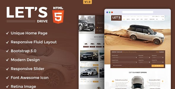 lets drive amazing car rental sale html5 template