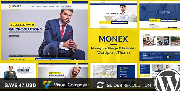 Monex Money Exchange Finance Business WordPress Theme Corporate