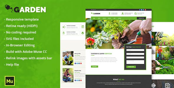 Lawn Service Website Templates from ThemeForest