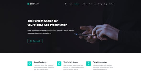 App presentation mockup kit website template from themeforest spiritapp app landing page psd template maxwellsz