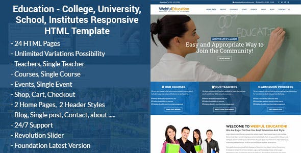 Academy Website Templates compatible with Foundation
