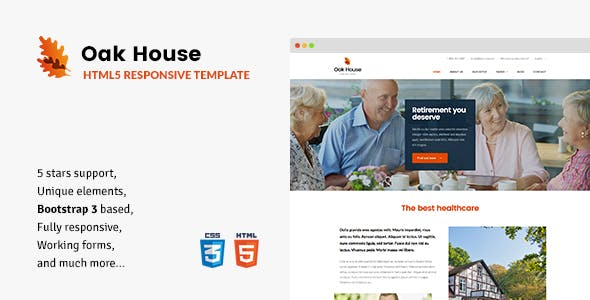 Oak House Senior Care Retirement Rehabilitation Home Html5 Template