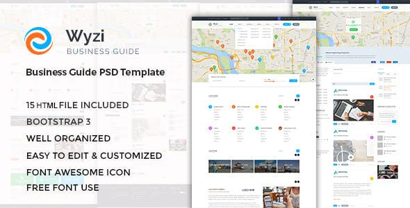 Yellow pages html website templates from themeforest wyzi responsive business directory with social media look html template cheaphphosting Image collections