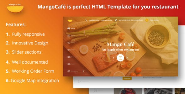 restaurant cafe landing page templates from themeforest