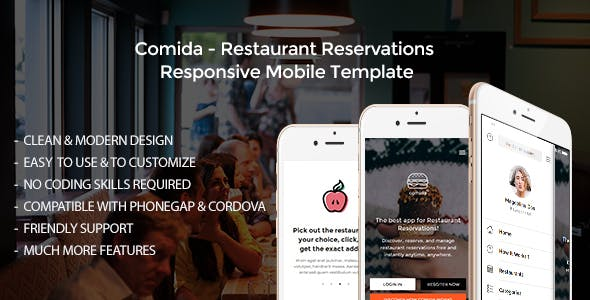 comida restaurant reservations responsive mobile template by wm team