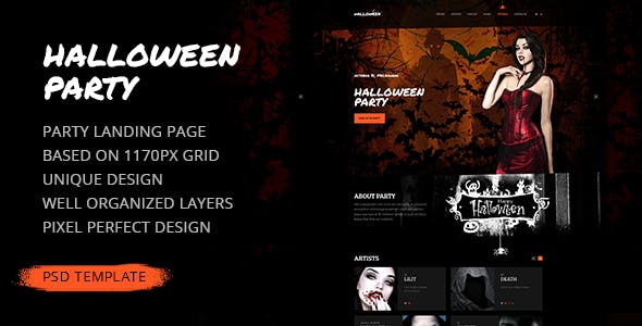 halloween party website templates from themeforest