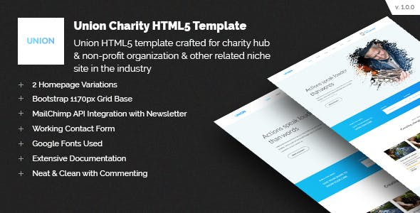 Mailchimp Newsletter Template Non Profit HTML Website Templates - Bootstrap newsletter template