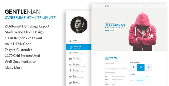 gentleman responsive cv resume html template by labartisan themeforest