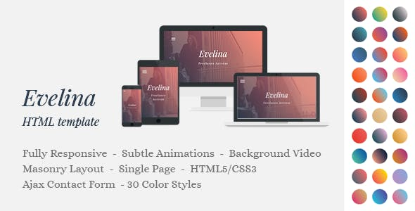 Demo reel website templates from themeforest evelina responsive one page html template for actor model portfolio maxwellsz