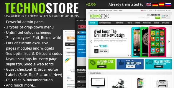 TechnoStore Responsive osCommerce with Powerful Settings nulled theme download