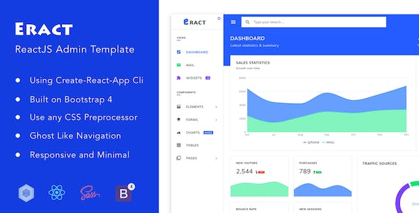Eract - ReactJS Bootstrap 4 Admin Template by solutionportal