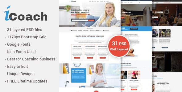 Business coaching templates from themeforest icoach for coaches speakers fitness trainers entrepreneurs psd template wajeb Images