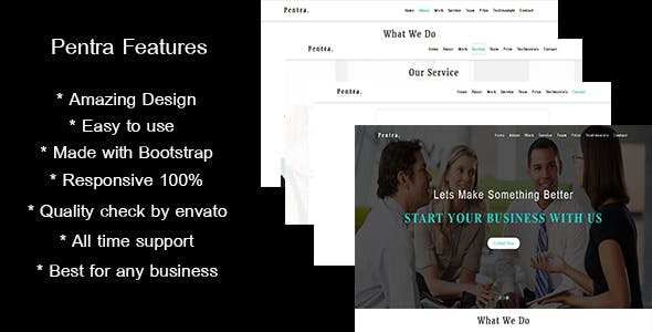 One Page Company Profile Clear All Pentra Multipurpose Corporate HTML5 Template