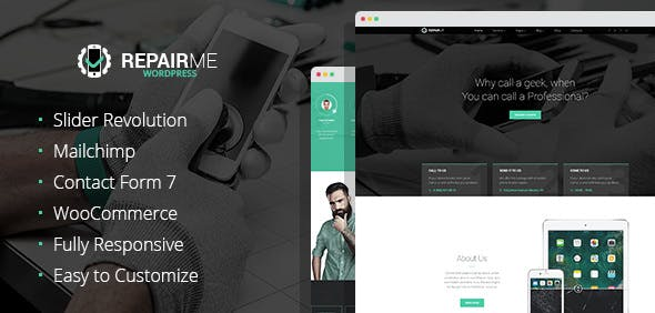 RepairMe - gadgets / home appliance repair workshop WordPress theme
