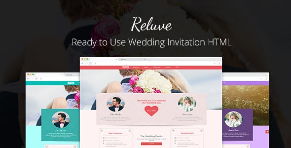 reluve responsive wedding invitation landing page