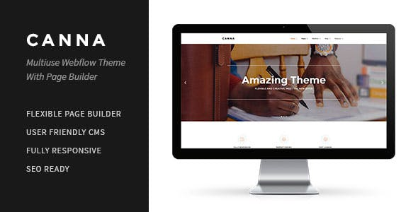 Canna | Multiuse Webflow Template With Page Builder nulled theme download
