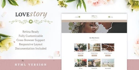 2019's Best Selling HTML Wedding Website Templates