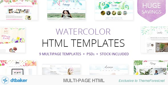 Watercolor Templates from ThemeForest