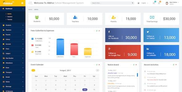 Admin Akkhor School Management System Psd
