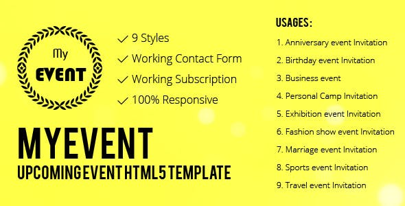 Event planning calendar template templates from themeforest myevent the upcoming event html5 responsive template tags event planning calendar saigontimesfo