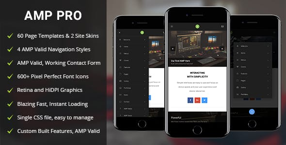 Amp HTML Mobile Website Templates from ThemeForest