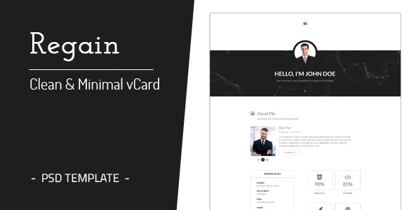 Personal vcard virtual business card psd templates regain clean minimal personal vcard template colourmoves