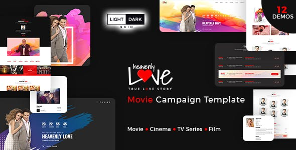 heavenly love cinema movie bootstrap 3 html template by codepassenger