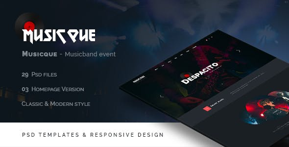 Music album templates from themeforest musicque music band event psd template maxwellsz