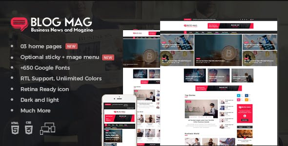Corporate blog templates from themeforest blog mag bootstrap business news and magazine responsive template cheaphphosting Image collections