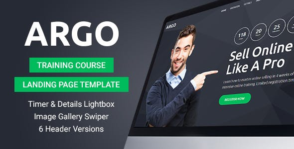 argo training course landing page template