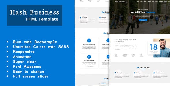 Hash Business One Page Corporate And Business Template By 3xtheme