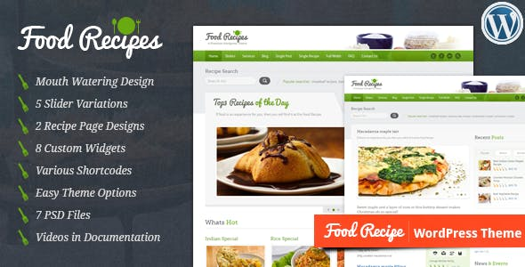 Food Recipes Website Templates From ThemeForest