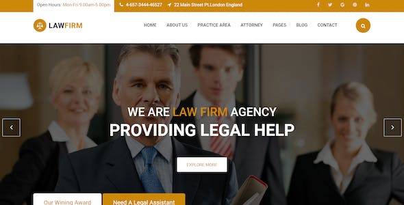 Lawyer Office Website Templates from ThemeForest