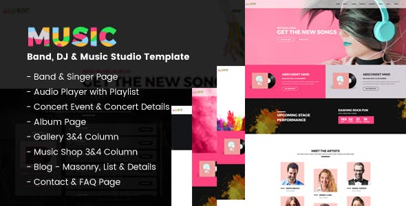 Music album templates from themeforest music a fresh band dj music studio template maxwellsz