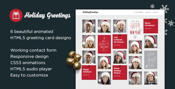 Greeting cards website templates from themeforest holiday greetings landing page greeting card m4hsunfo